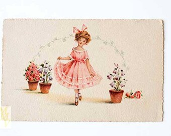 Romantic postcard, Valentines card, Mother's Day card, greeting card, Girl Greeting Card, Greeting Card Spring, Spring Greeting Card