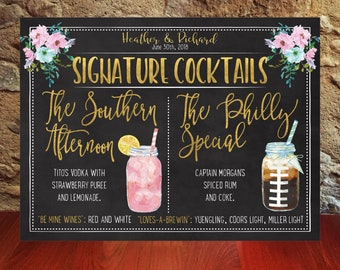 Printable Signature drinks, chalkboard, cocktails, Wedding Bar drink menu, Signature cocktails, personalized bar signs, Downloadable print