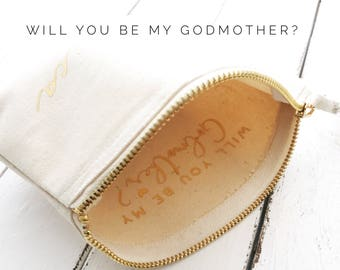 Godmother Gift | Gift ideas for Godmothers | Christening Gifts | Baptism Gifts | Personalised Pouch | Will you be my Godmother