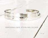 Sterling Silver Personalised Cuff Bracelet Personalised Cuff Bracelet Inspirational Jewellery Sterling Silver Bangle by Glam and Co
