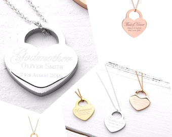 Godmother Gift | Godmother Necklace | Gift ideas for Godmothers | Personalised Gift for Godmother | Lock Heart Necklace (B013)