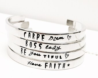Women's Gift   Personalized Gift   Handstamped Bracelet   Personalized Bracelet   Quote Bracelet  Hand Stamped Jewelry By Glam and Co (C134)