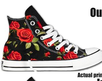 f309ed4eeb4 Red Rose Pattern Custom Converse All Stars