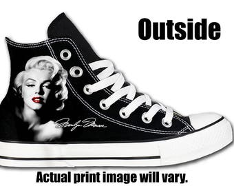 876e57b67ae5 Marilyn Monroe Black Custom Converse All Stars