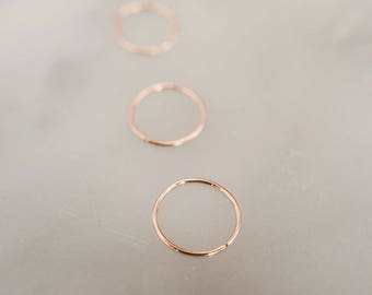 Custom Nose Ring, Cartilage, Helix, Tragus or Lip Hoop - Thin 24 Gauge Gold, Rose Gold, Sterling Silver