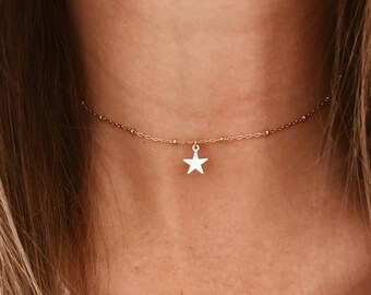 Satalite Chain Star Choker in 14/20 Gold Fill