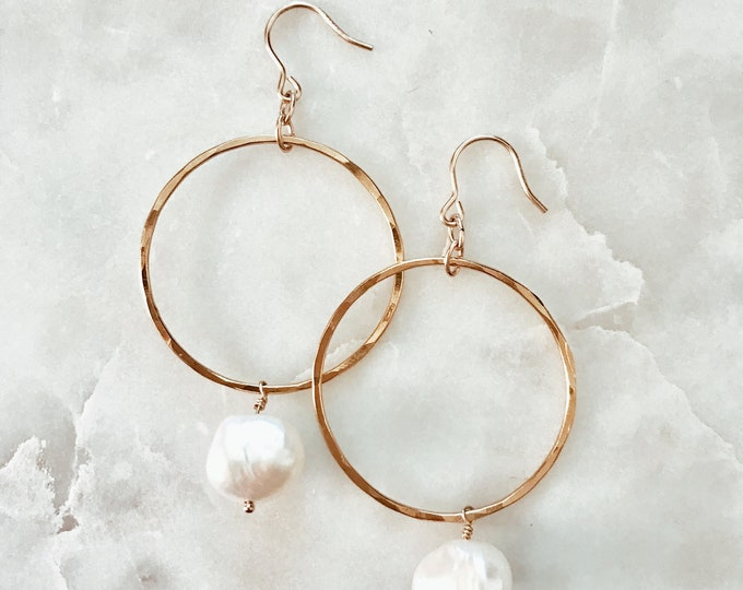 Featured listing image: Hanging Pearl Hoop Earrings made with Freshwater Pearl and 14/20 Gold Fill
