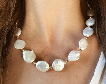 Large Freshwater Pearl Statement Necklace with 14/20 Gold Filled Beads