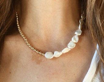 Half & Half Pearl Beaded Necklace with 14/20 Gold Fill beads and Freshwater Pearls