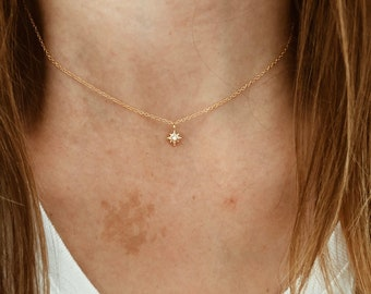 Gold North Star Necklace in 14/20 Gold Fill
