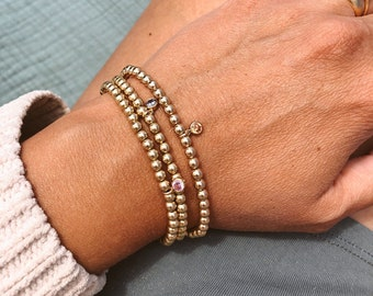 Birthstone Gold Beaded Bracelet in 14/20 Gold Fill