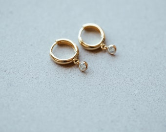 Birthstone Drop Huggie Earrings in 14/20 Gold Fill