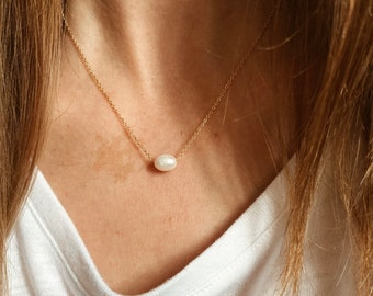 Floating Pearl Necklace in either 14/20 Gold Fill, Sterling Silver, or 14/20 Rose Gold Fill