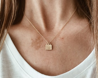 Italic Initial Locket Necklace in 14/20 Gold Fill