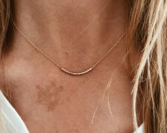 "Flow Beaded Bar Necklace in Gold or Silver - 14"", 15"", 16"", 17"", 18"", 19"", 20"" Gold Fill or Sterling Silver Chain"