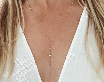 Shooting Star Y Lariat Necklace with CZ bezel stone in 14/20 Gold-Fill