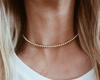 Gold Bead Chain Choker in 14/20 Gold Fill