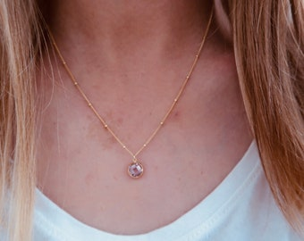 Rose Gemstone Necklace on a 14/20 Gold Fill Beaded Chain