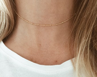 Gold Beaded Choker in 14/20 Gold-Fill // Satellite Chain Choker