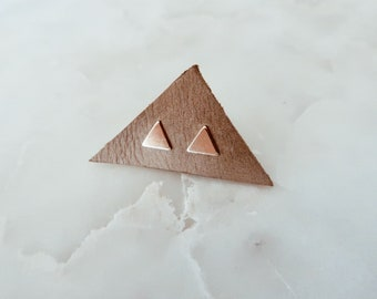 Gold Triangle Stud Earrings in 14/20 Gold Fill