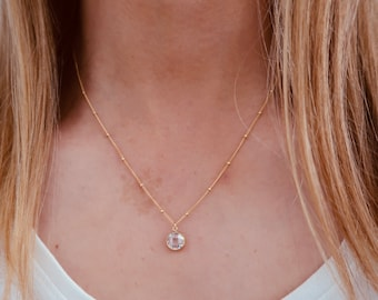 White Gemstone Necklace in 14/20 Gold Fill