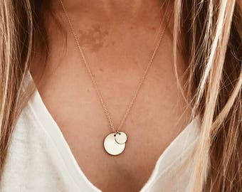 Double Disk Necklace in 14/20 Gold Fill or Sterling Silver | Sun and Moon | Mama and Baby