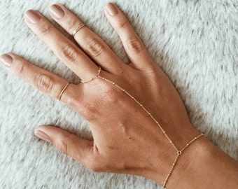 Beaded Hand Chain / Ring Bracelet in 14/20 Gold-fill