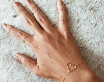 Heart Bracelet or Anklet in 14/20 Gold-fill, 14/20 Rose Gold-fill, or Sterling Silver