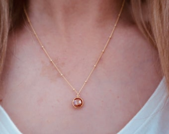 Champagne Gemstone Necklace on a 14/20 Gold Filled Beaded Chain