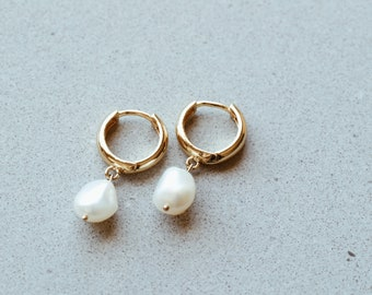 Drop Pearl Huggie Earrings in 14/20 Gold Fill