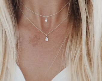 Double Crystal Strand Necklace with Round and Teardrop Bezels on a Sterling Silver Chain