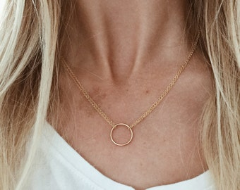 Double Chain Infinity Circle Necklace in 14/20 Gold Fill or Sterling Silver