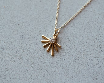 Golden Sun Ray Necklace in 14/20 Gold Fill with a CZ Stone
