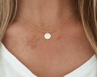 Hammered Circle Gold or Silver Charm with a 14/20 Gold Fill or Sterling Silver Chain
