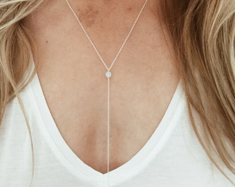 "Opalite Moonstone ""Y"" Lariat Necklace - 14/20 Gold Fill or Sterling Silver"