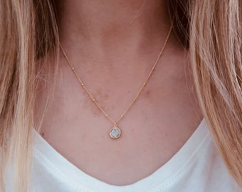 Sky Blue Gemstone Necklace in 14k Gold Fill with Beaded Chain