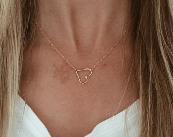 Heart Necklace in 14/20 Gold-fill, 14/20 Rose Gold-fill, or Sterling Silver
