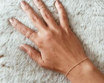 Gold Beaded Chain Bracelet in 14/20 Gold-fill