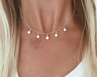 Five Crystal Necklace in Sterling Silver or 14/20 Rose Gold Fill