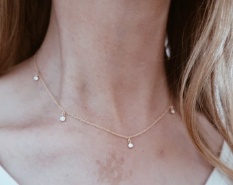 Hanging Diamonds Necklace in 14k Gold Fill with five CZ Diamond Stones