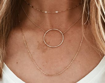 Large Hammered Circle Necklace in 14/20 Gold Fill