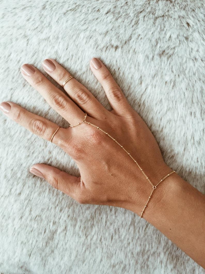 Beaded Hand Chain / Ring Bracelet in 14/20 Gold-fill image 0