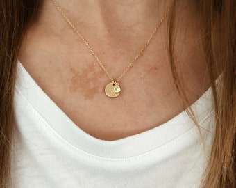 Small Custom Birthstone Stamped Initial Disk Necklace with Birthstone Charm in 14/20 Gold Fill