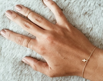 Tiny Cross Charm Bracelet on a 14/20 Gold-fill or 14/20 Rose Gold-fill Chain