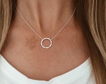 Silver Hammered Circle Necklace in Sterling Silver