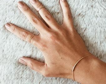 Curved Bar Bracelet in 14/20 Gold-fill or Sterling Silver