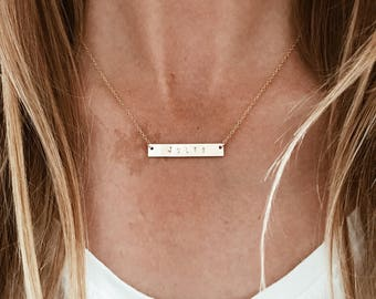 Personalized CUSTOM Stamped Bar Necklace in 14/20 Gold Fill or 14/20 Rose Gold Fill