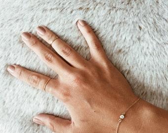 Single Crystal 14/20 Gold-fill, 14/20 Rose Gold-fill, or Sterling Silver Bracelet