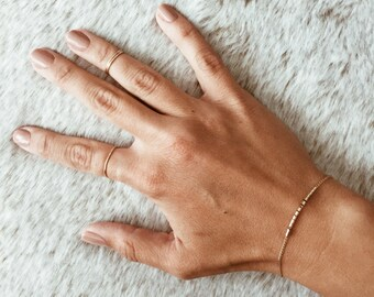 Flow Beaded Bar Bracelet in 14/20 Gold-fill or Sterling Silver