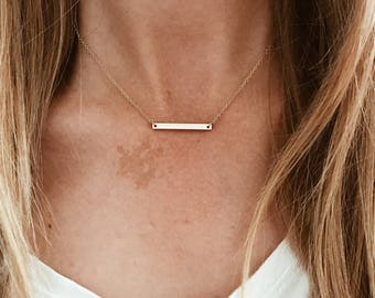 """Tiny Straight Bar Plate Necklace in 14/20 Gold-fill, 14/20 Rose Gold-fill, or Sterling Silver 16"""", 17"""", 18"""", 19"""", 20"""" chain"""
